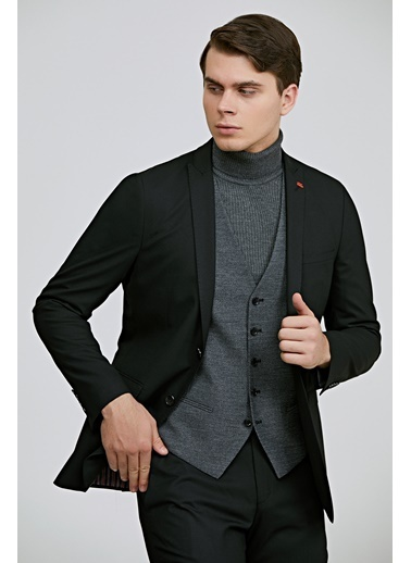 TWN Slim Fit Armürlü Kombinli Takım Elbise Siyah